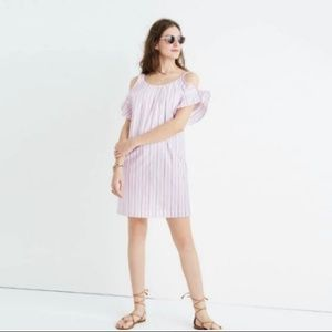 Madewell Rose Striped Cold shoulder mini Dress